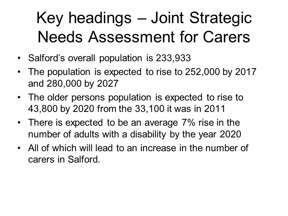 Key headings – Joint Strategic Needs Assessment for Carers