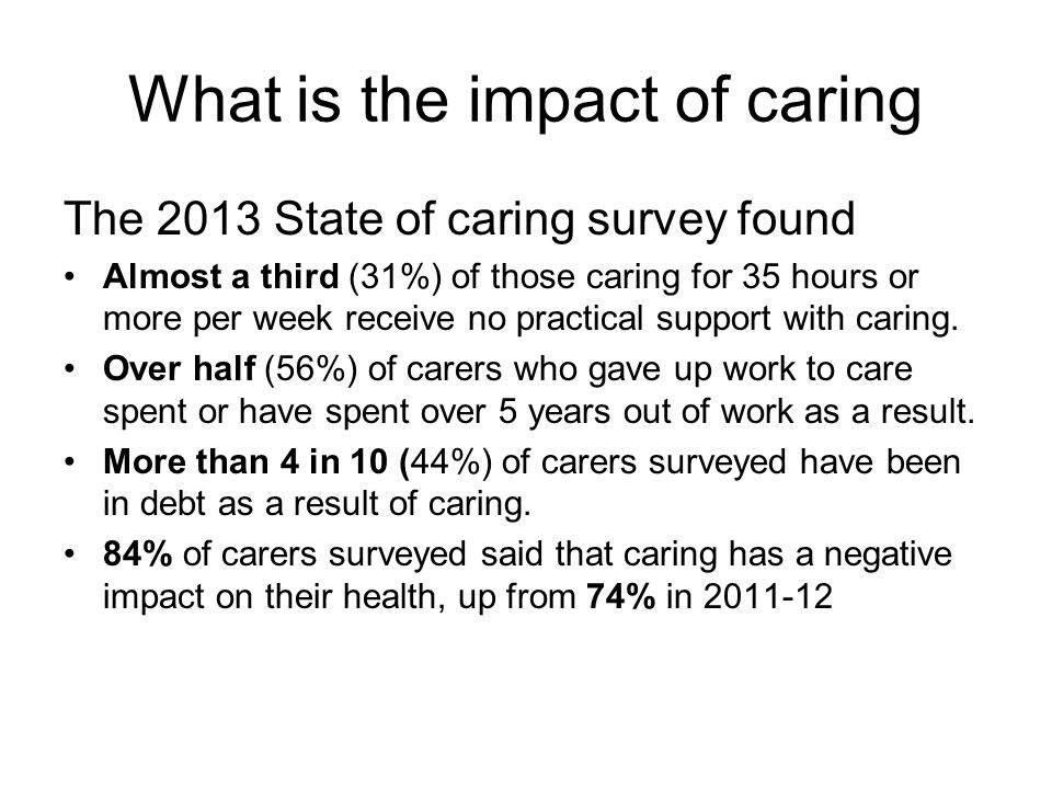 What is the impact of caring