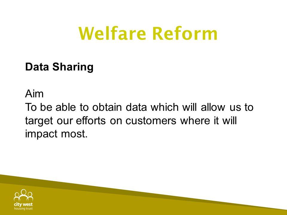 Welfare Reform Data Sharing Aim