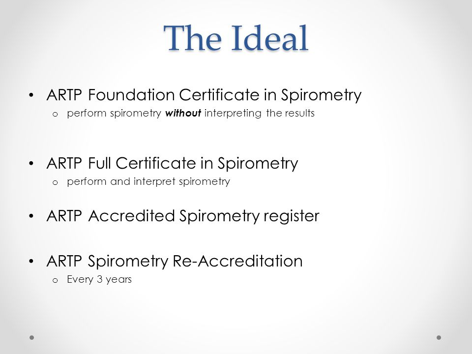The Ideal ARTP Foundation Certificate in Spirometry