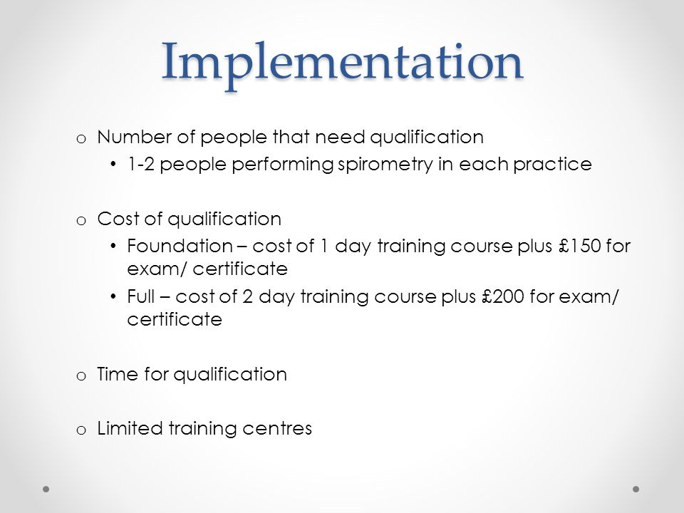 Implementation Number of people that need qualification