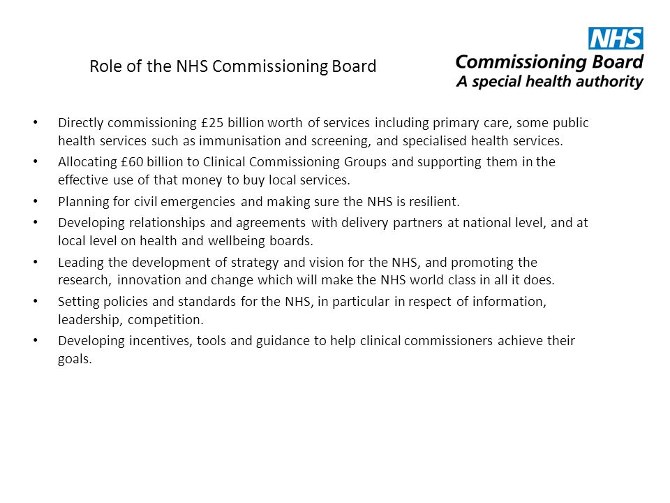 Role of the NHS Commissioning Board