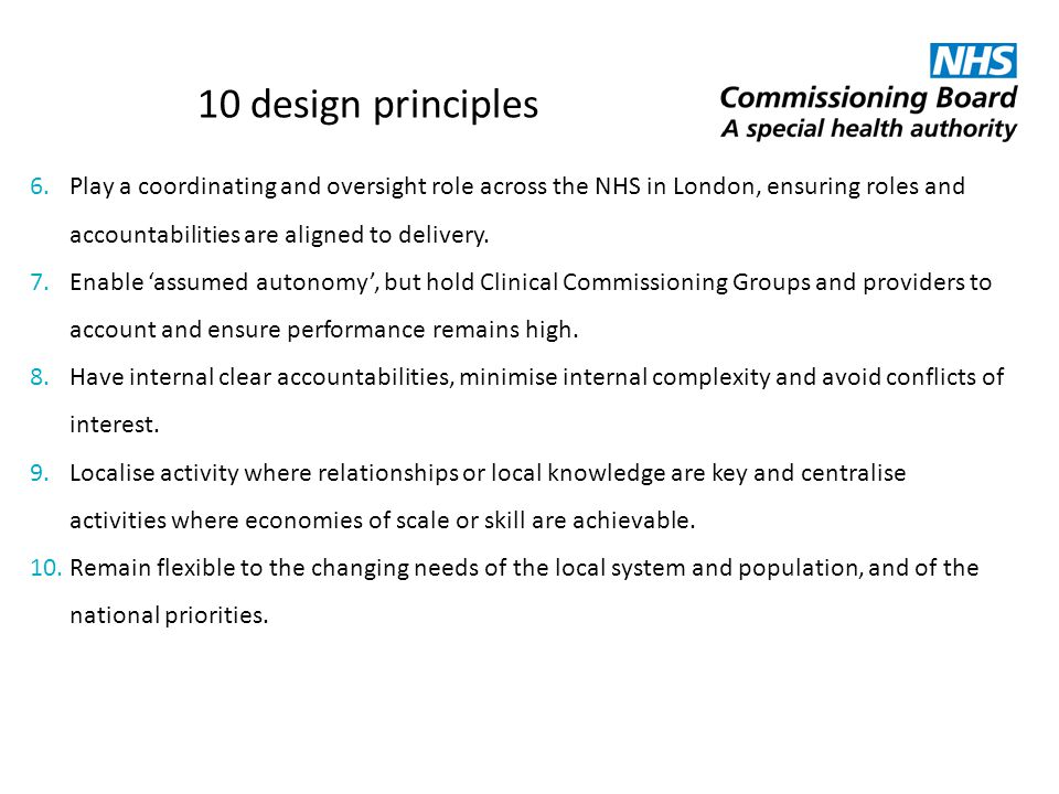 10 design principles Play a coordinating and oversight role across the NHS in London, ensuring roles and accountabilities are aligned to delivery.
