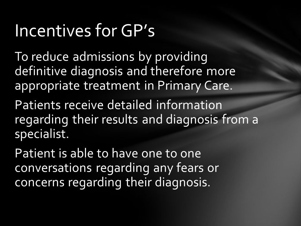 Incentives for GP's
