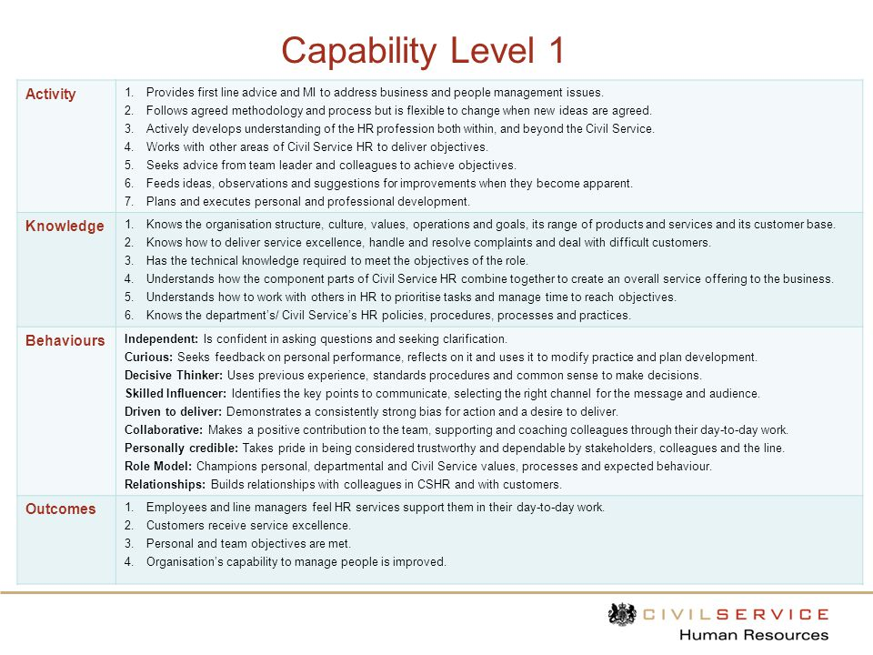 Capability Level 1 Activity Knowledge Behaviours Outcomes