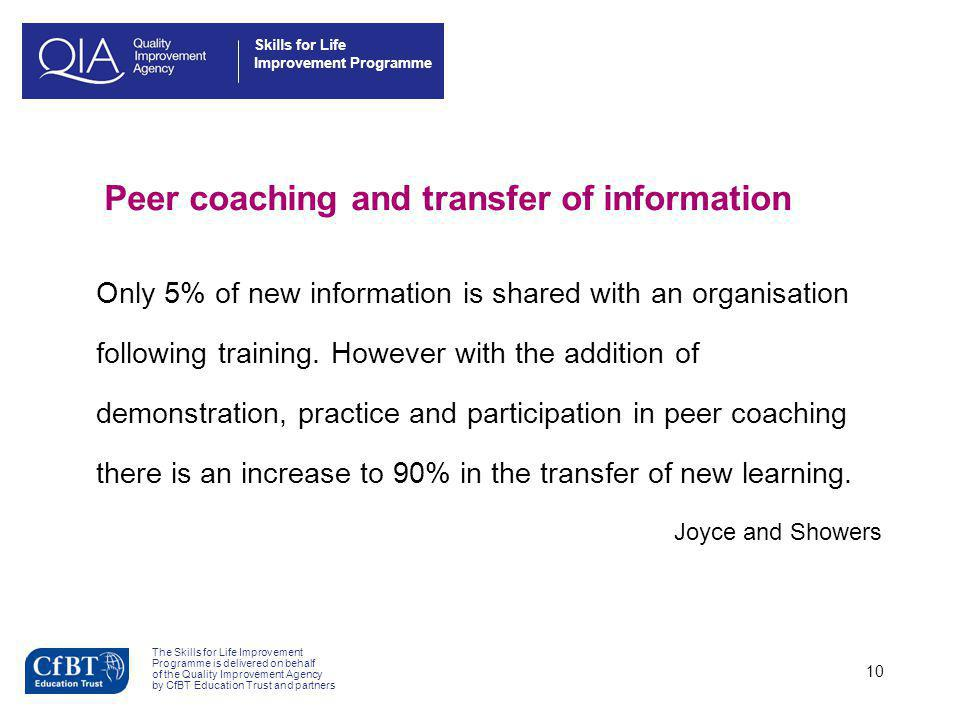 Peer coaching and transfer of information