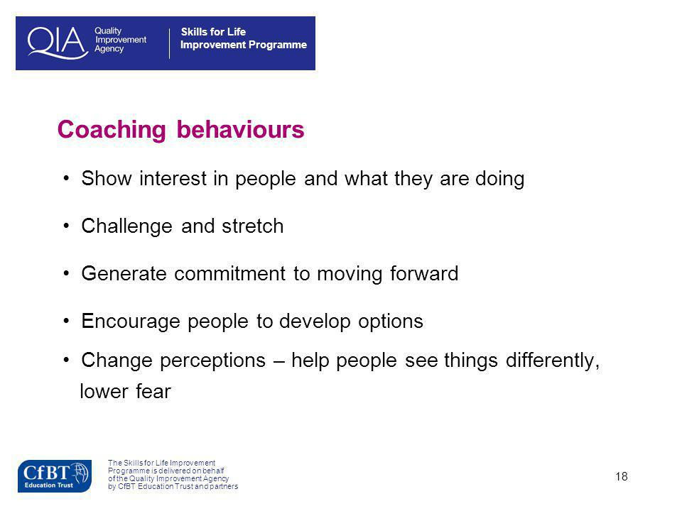 Coaching behaviours Show interest in people and what they are doing