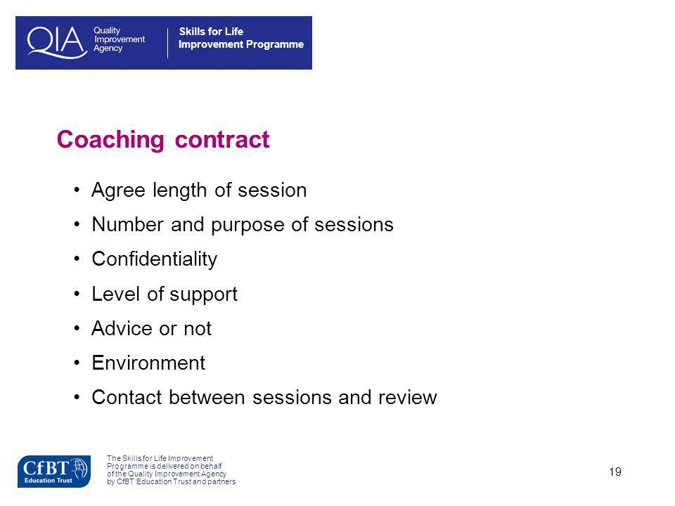 Coaching contract Agree length of session