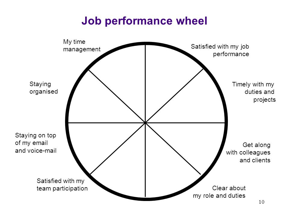 Job performance wheel My time management