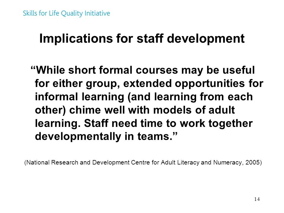 Implications for staff development