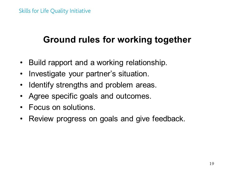 Ground rules for working together