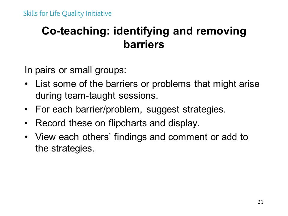 Co-teaching: identifying and removing barriers