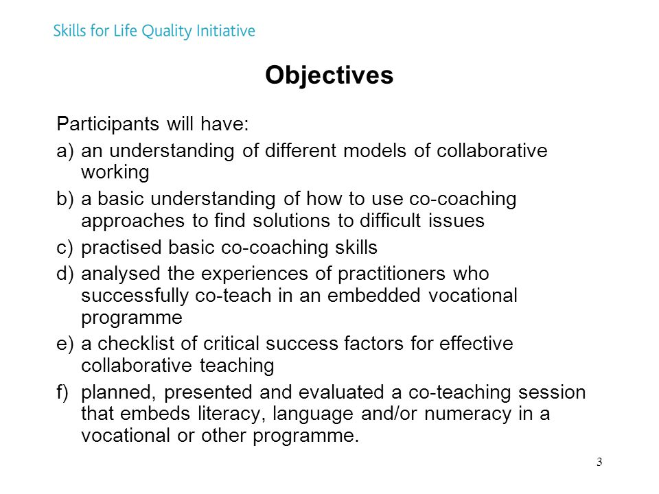 Objectives Participants will have: