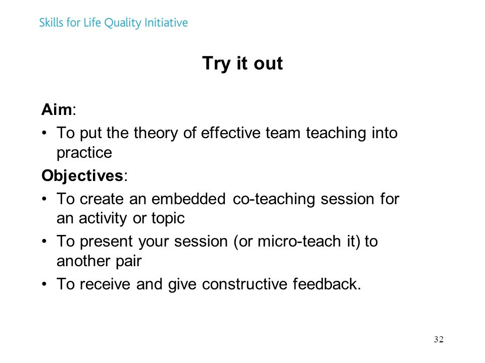 Try it out Aim: To put the theory of effective team teaching into practice. Objectives:
