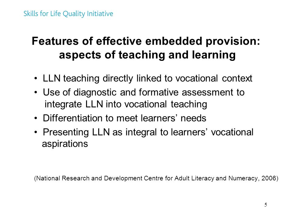 Features of effective embedded provision: aspects of teaching and learning