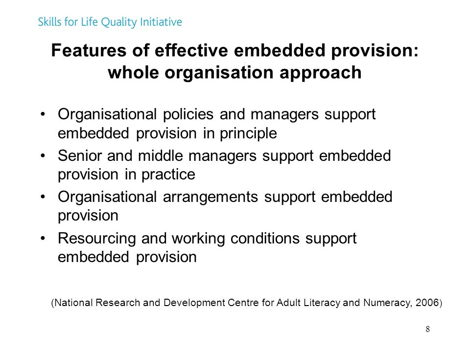 Features of effective embedded provision: whole organisation approach