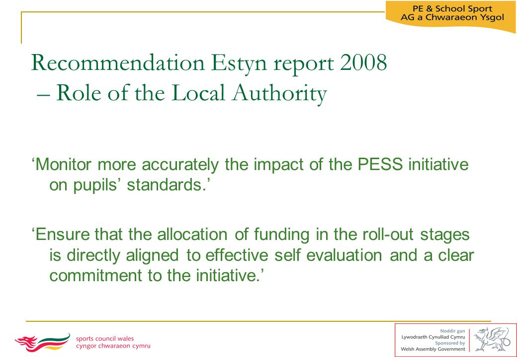 Recommendation Estyn report 2008 – Role of the Local Authority