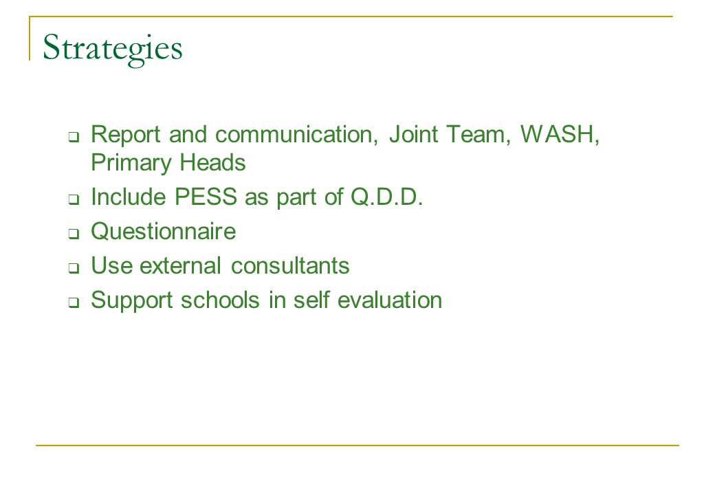 Strategies Report and communication, Joint Team, WASH, Primary Heads