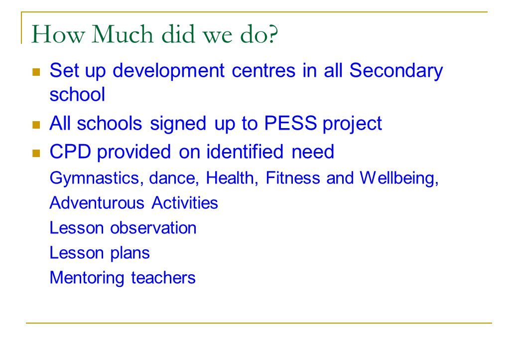 How Much did we do Set up development centres in all Secondary school