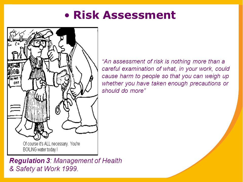 Risk Assessment Regulation 3: Management of Health