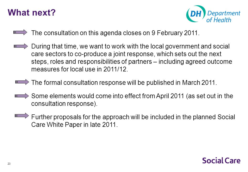What next The consultation on this agenda closes on 9 February 2011.