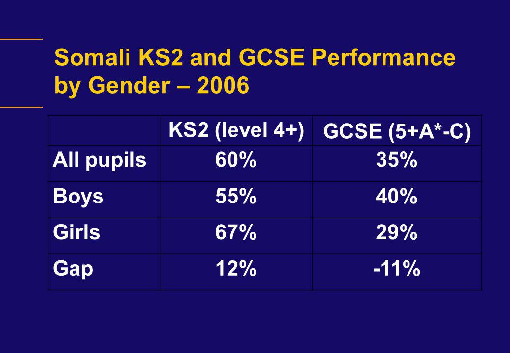 Somali KS2 and GCSE Performance by Gender – 2006