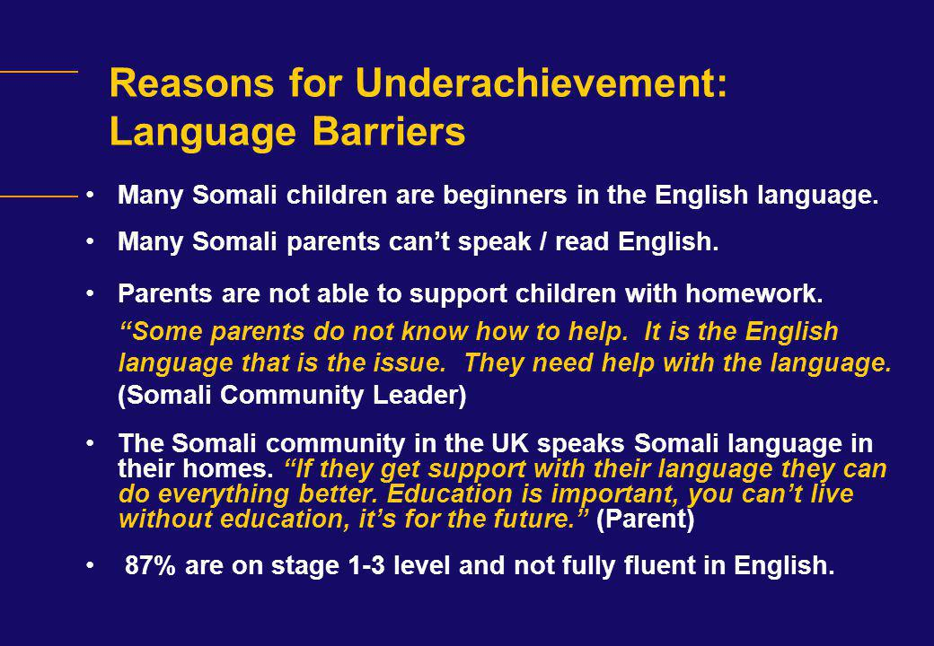 Reasons for Underachievement: Language Barriers