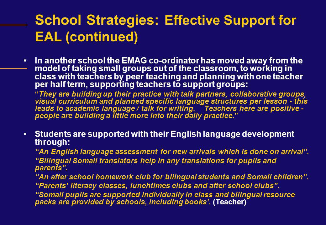 School Strategies: Effective Support for EAL (continued)