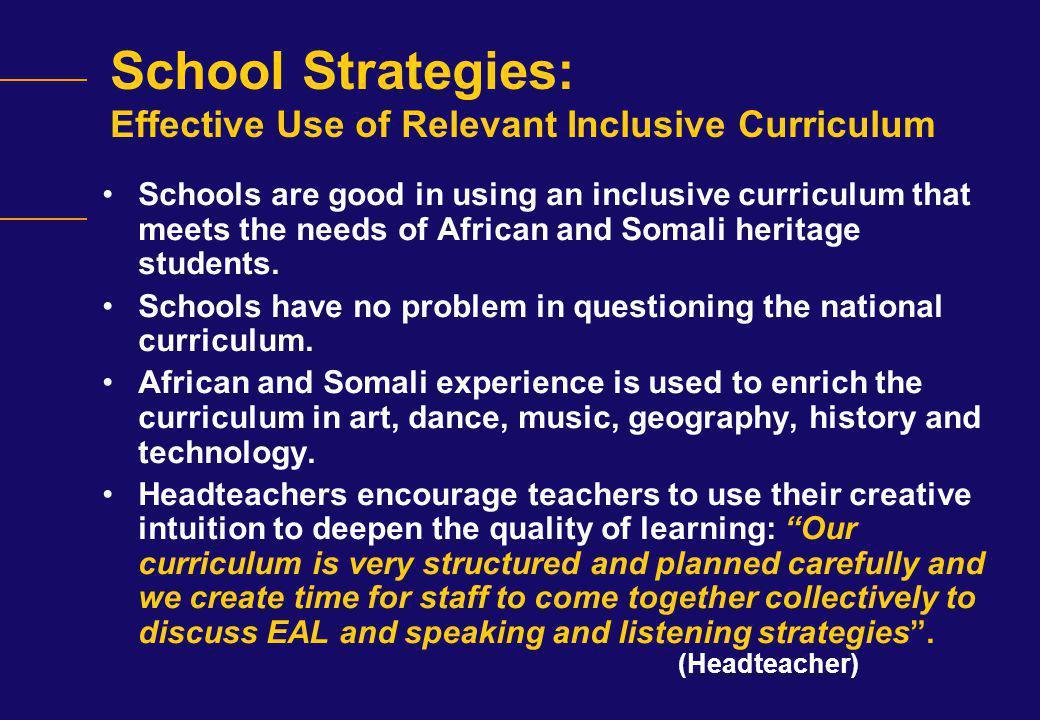 School Strategies: Effective Use of Relevant Inclusive Curriculum
