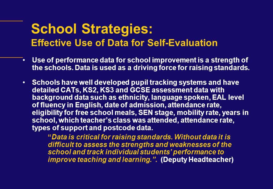 School Strategies: Effective Use of Data for Self-Evaluation