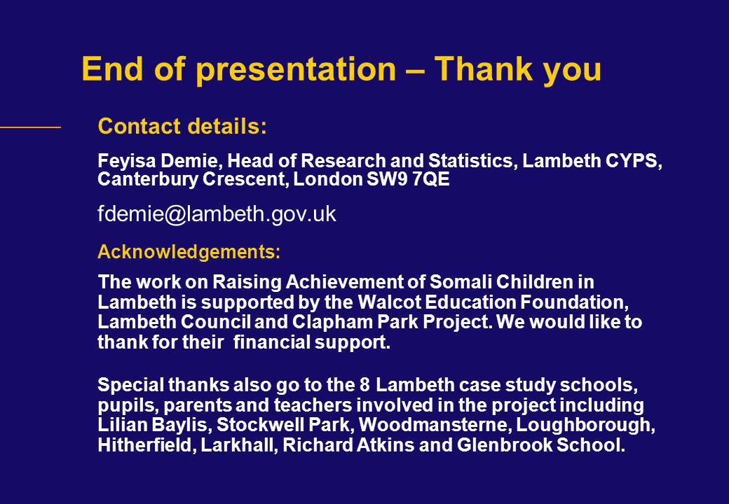 End of presentation – Thank you