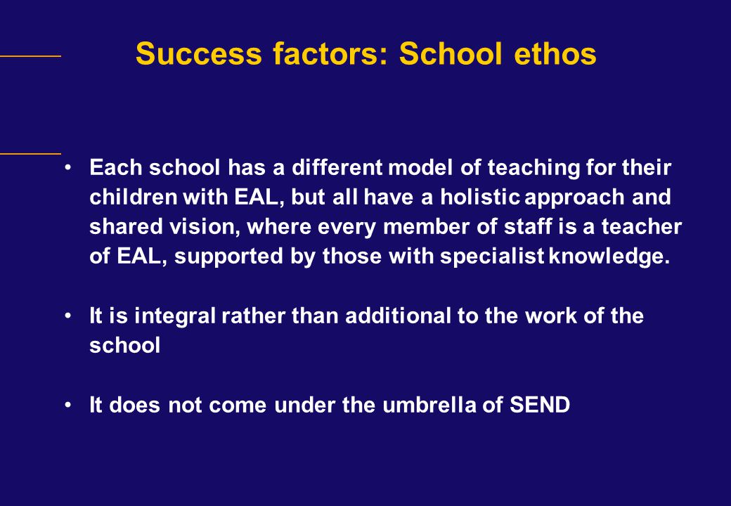 Success factors: School ethos