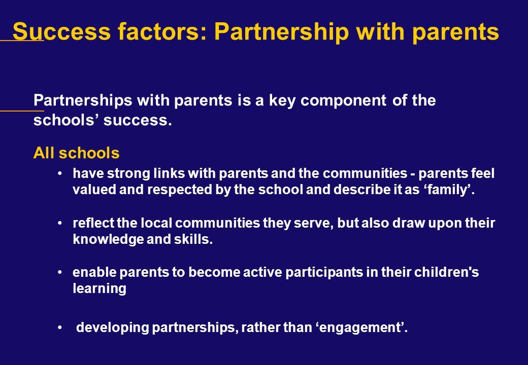Success factors: Partnership with parents