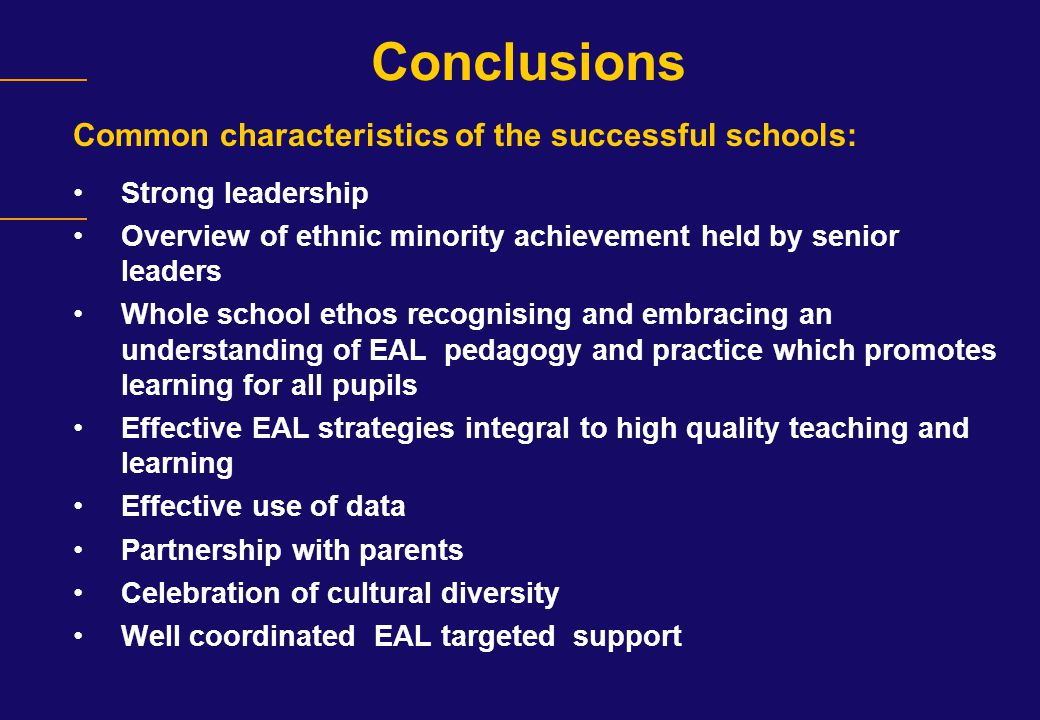 Conclusions Common characteristics of the successful schools: