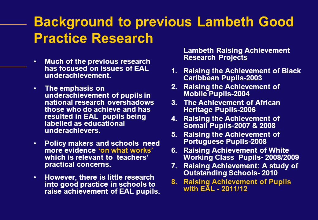 Background to previous Lambeth Good Practice Research