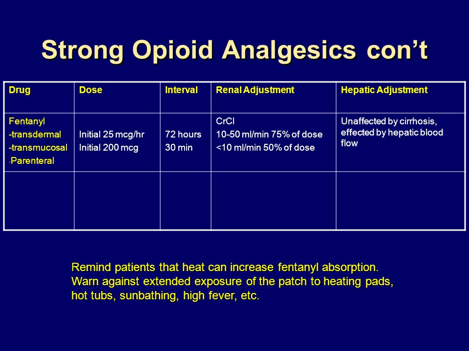 Strong Opioid Analgesics con't
