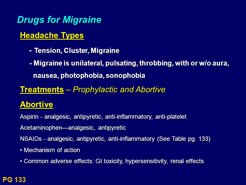 Drugs for Migraine Headache Types - Tension, Cluster, Migraine