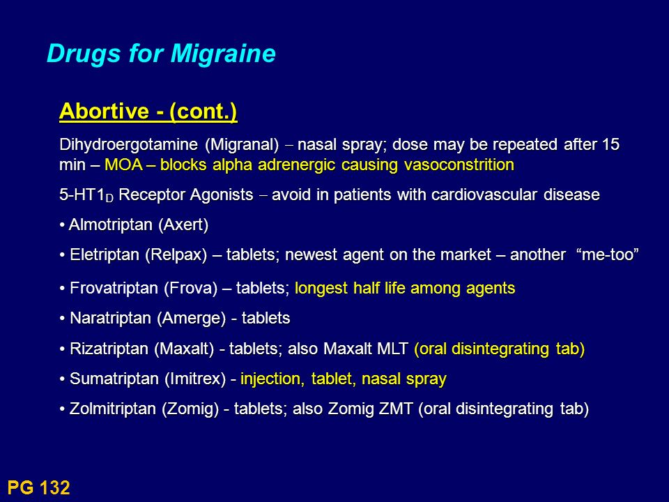 Drugs for Migraine Abortive - (cont.) PG 132