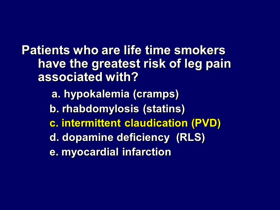 a. hypokalemia (cramps)