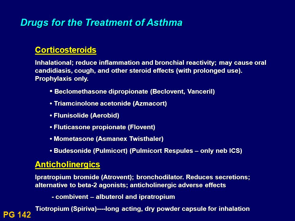 Drugs for the Treatment of Asthma