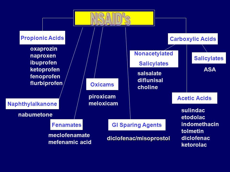 NSAID s Propionic Acids Carboxylic Acids oxaprozin naproxen
