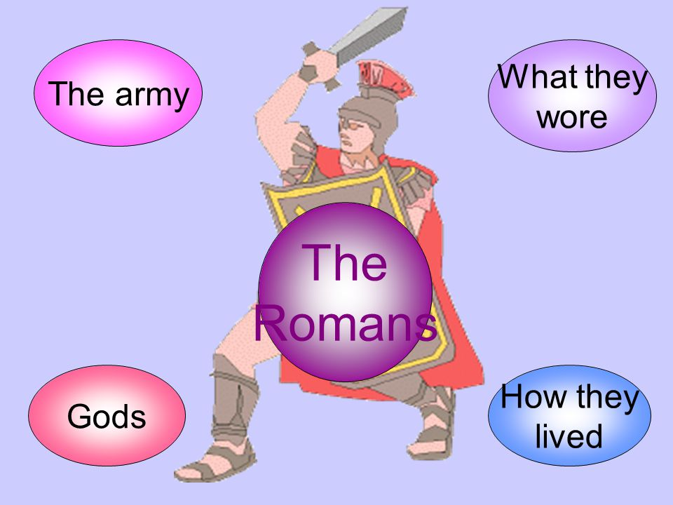 The army What they wore The Romans Gods How they lived
