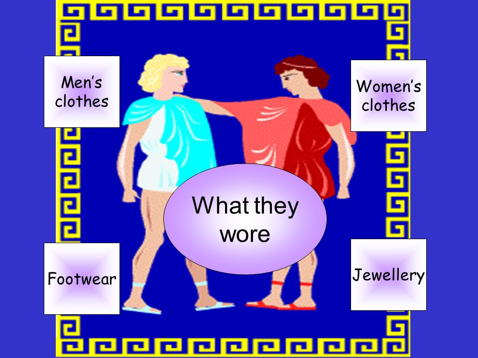 Men's clothes Women's clothes What they wore Jewellery Footwear
