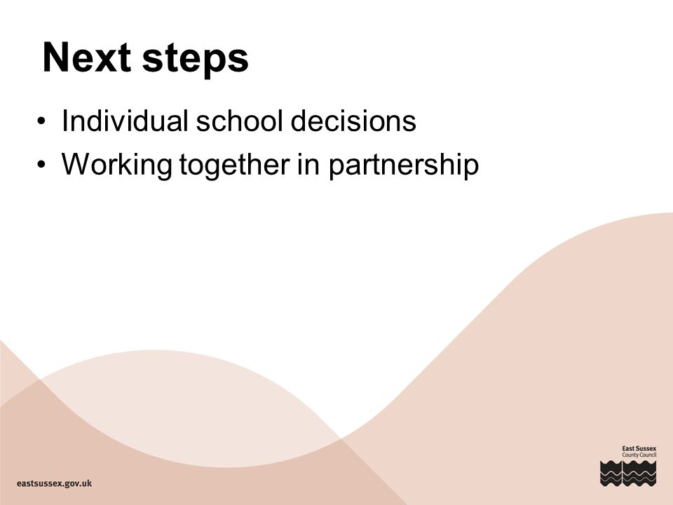 Next steps Individual school decisions Working together in partnership
