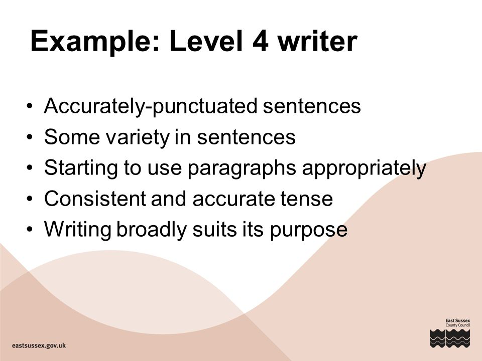 Example: Level 4 writer Accurately-punctuated sentences