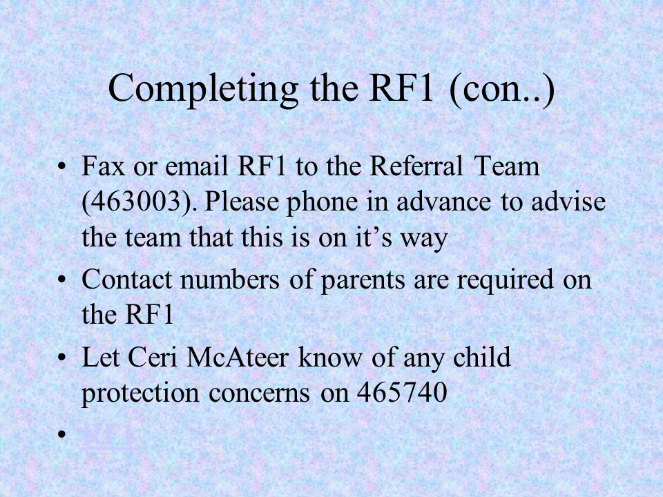 Completing the RF1 (con..)
