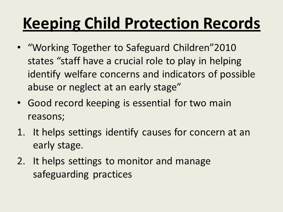 Keeping Child Protection Records