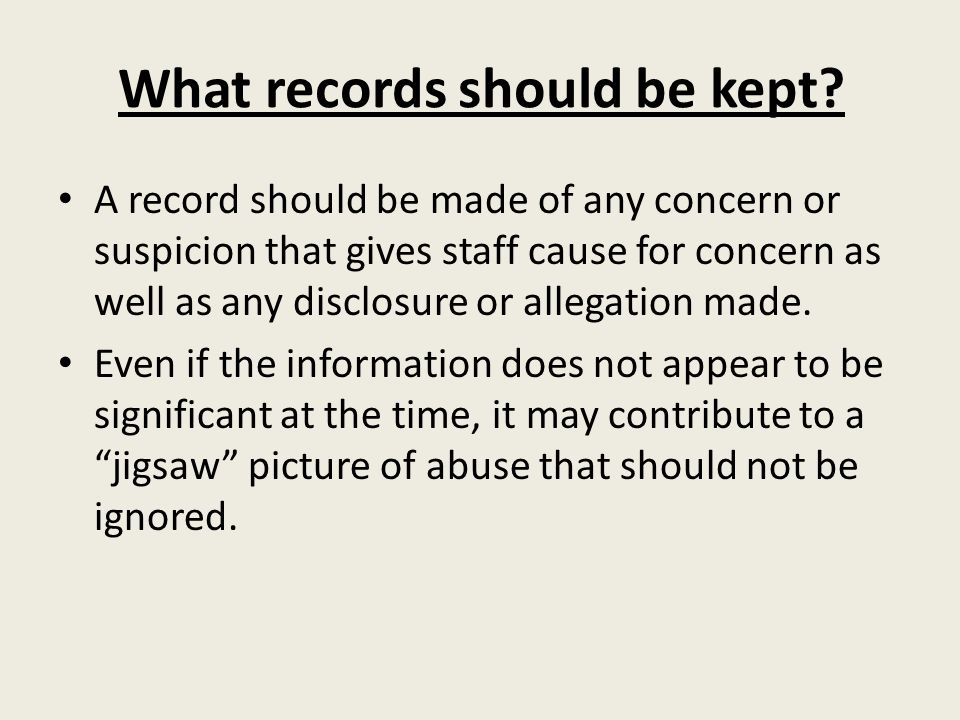 What records should be kept