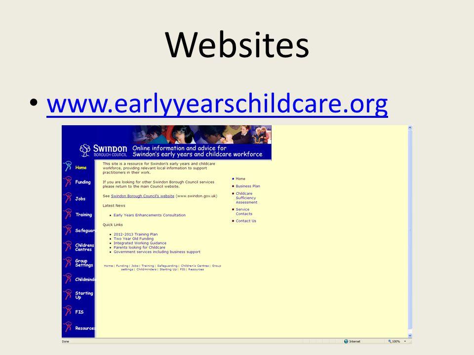 Websites www.earlyyearschildcare.org