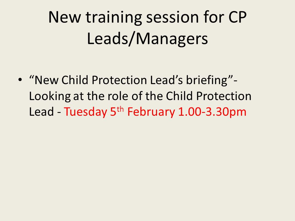 New training session for CP Leads/Managers